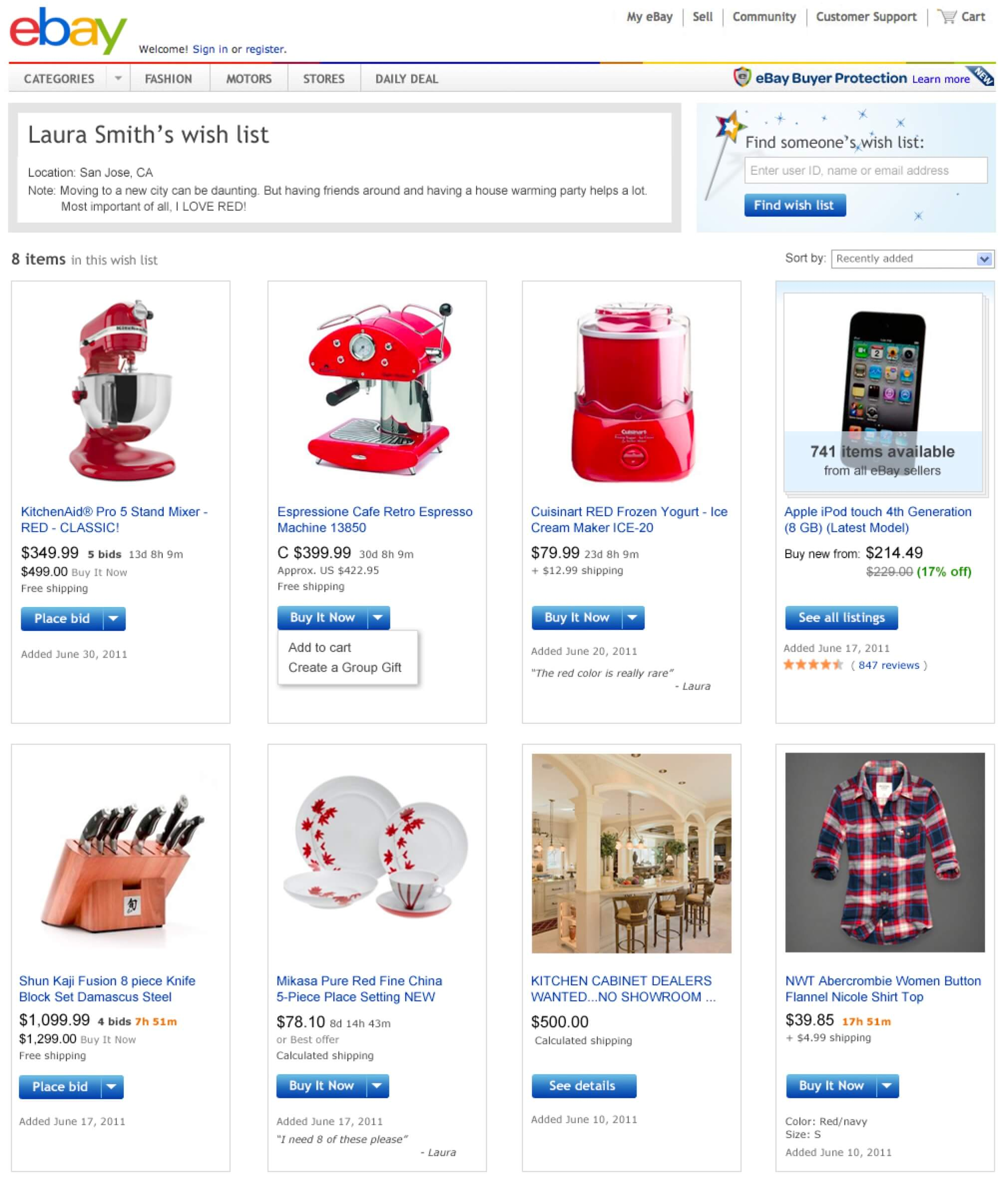 Ebay Wish List
